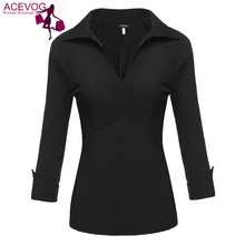 ACEVOG Women Autumn V-Neck Roll Up 3/4 Sleeve Solid Black Slim Fit Blouse Tops Work Shirt Back Zipper Closure 5 Sizes