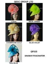 NEW Sinamay fascinator hat in SPECIAL shape with feathers,TOP grade workmanship.Neon yellow,taupe,rose purple,wheat,dark blue.