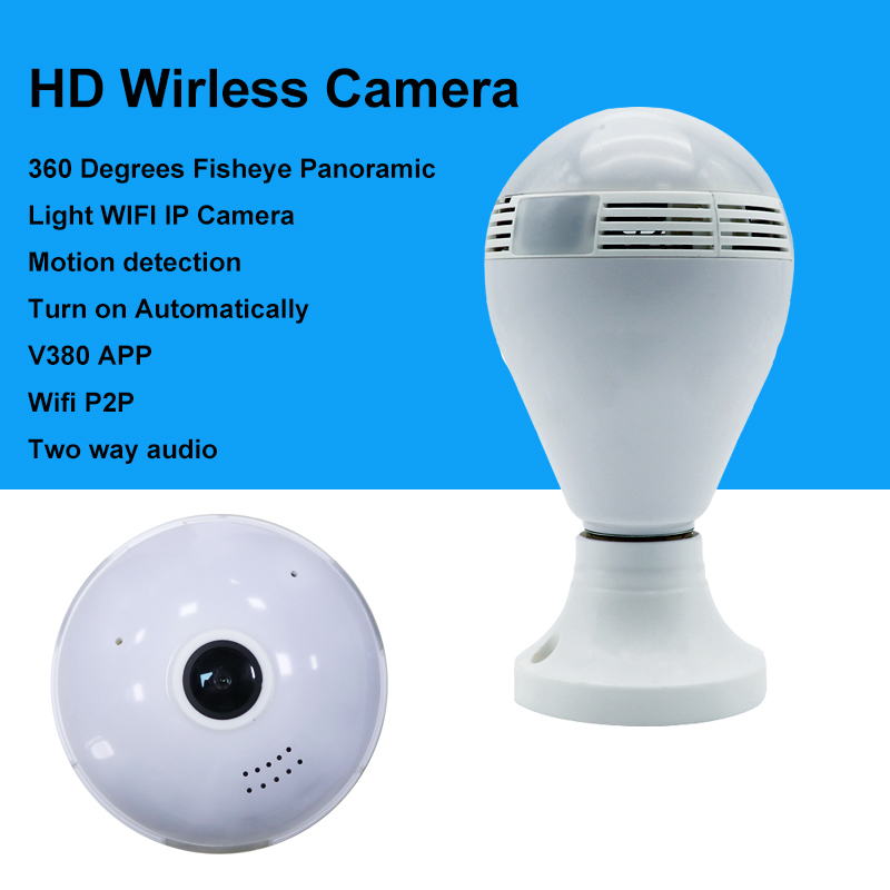 New Automatic Turn on Motion detection VR 360 degrees wifi wirless 3D Fisheye Panoramic light bulb security IP camera<br>