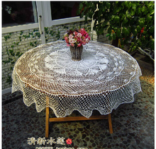 Crochet Lace openwork knit rural nostalgic White Cotton Doilies Round tablecloth Linen decorative Cover cloth Home Textile
