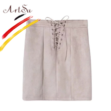 Buy ArtSu Europe Women High Waist Bodycon Preppy Mini Skirt 2017 Autumn Lace Leather Suede Pencil Skirts Faldas Mujer ASSK20041 for $16.04 in AliExpress store