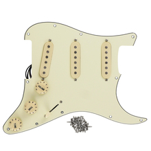 FLEOR 3 Single Coil Pickup SSS Loaded Prewired Electric Guitar Pickguard Strat 11 Holes Assembly Set for FD, Cream 3Ply(China)