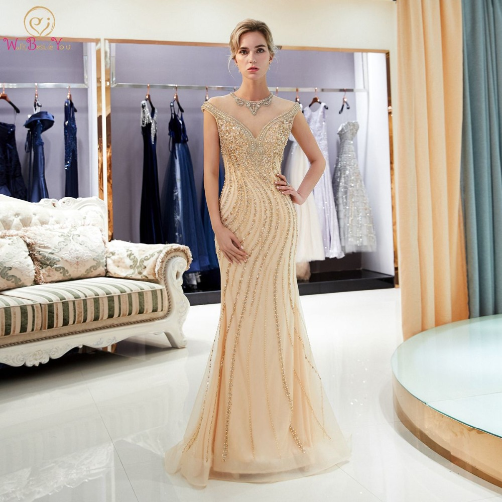 Gold Evening Dresses Walk Beside You Mermaid Beaded Crystal Sleeveless Sukienka Wieczorowa Vestidos Formales Royal Prom Gown(China)