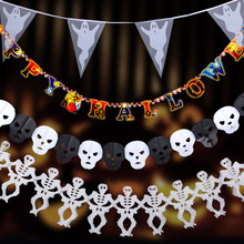 New Paper Pumpkin Bat Ghost Spider Skull Shaped  Chain Garland Party Decorations Flags Bunting Halloween Decor Garland Banners