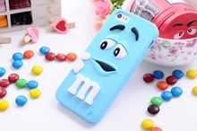 "3D Cartoon soft silicone M&M""s Fragrance Chocolate Rainbow Beans Case For iPhone 4/4s/5/5s/SE/6/6s/7/6s plus/7 plus 8 8plus Plus(China)"