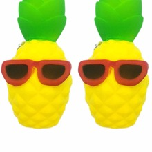 JJR/C Rising Bun Slow Squeeze Squishy Charms Cute Soft Bread Chain Mini Phone Straps Kids Toy Cool Pineapple Pendant