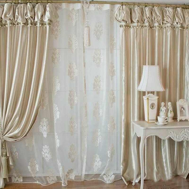 Home Decor Lanterns With Valance Beads Lace Curtain Customized Window Blackout Curtains Jacquard Tulle For Bedroom Living Room