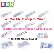 HRH Shortcuts Hotkeys Silicone Keyboard Cover For Apple Keyboard With Numeric Keypad Wired USB for iMac G6 Desktop PC Wired(China)