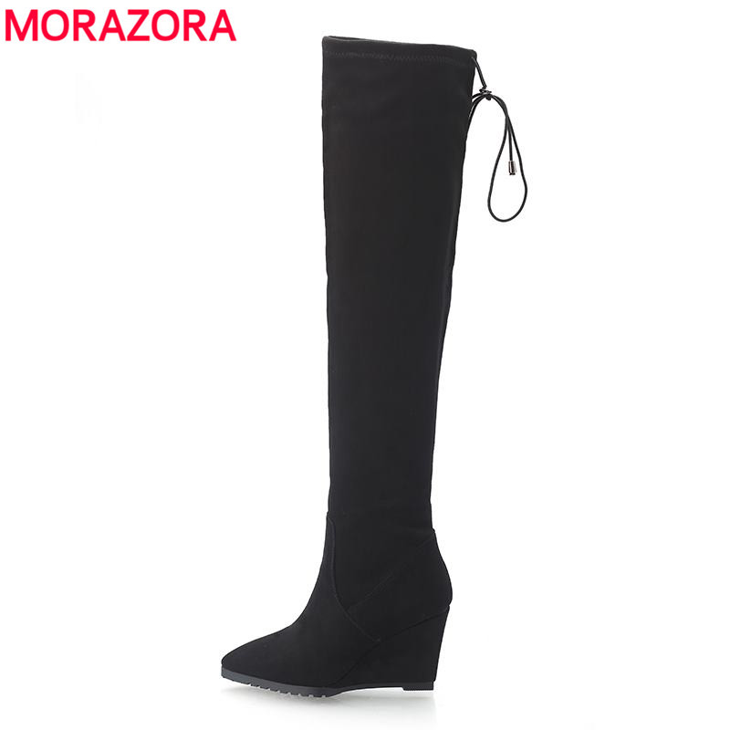 MORAZORA Over the knee boots autumn shoes wedges high heels women suede boots pointed toe high heels thigh high boots<br>