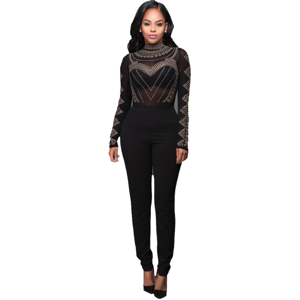 Jumpsuits For Sexy Bodysuit Women 2016 Sexy See Through Women Black Mesh Jumpsuit Long Sleeve Party Sequined Bodycon Calvn Woman