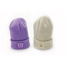 Casual Cute Hats Purple & Green Smile Wool Women Hats & Caps For Winter Chapeus(China)