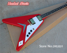 Free Shipping-Electric Guitar with Flying V Red Body,Gold Hardware,String-thru-body Design,White Pickguard,can be Customized