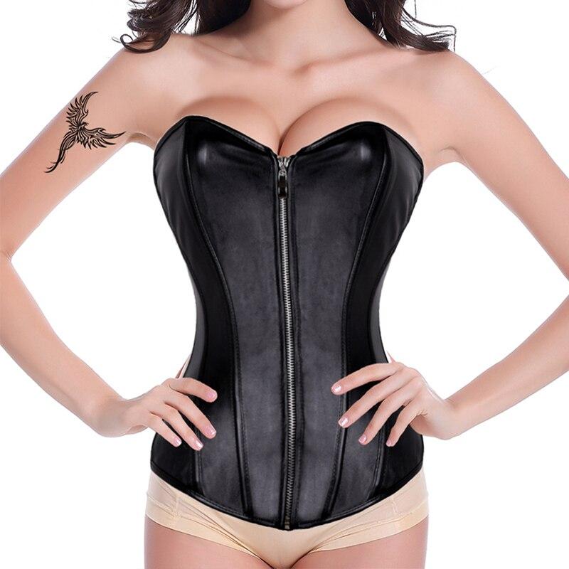 FLORATA Zipper Faux Leather Corset Vintage Corselet Overbust Waist Trainer Sexy Women 12 Boned Corselet Promotion Body Shaper