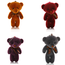 11CM Cute Teddy Bear Soft Plush Pendant Kids Doll Stuffed And Plush 4 Colors Love Bear Gift For Children Bag Key Chain