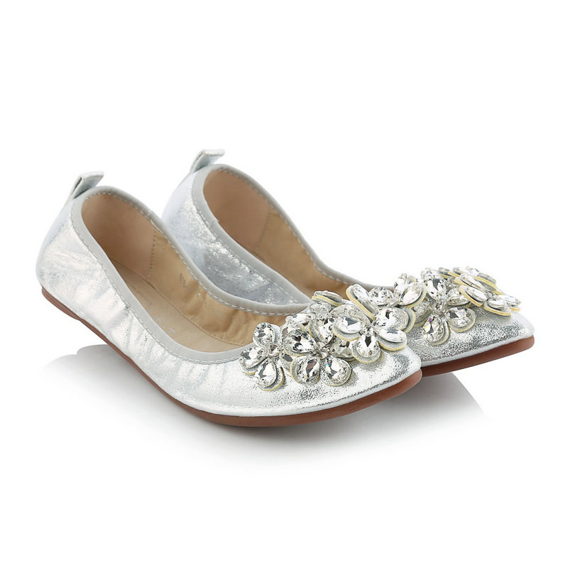 Classic Ladies Spring Shoes PU leather Round Toe Woman Flat Heel Women Rhinestone Female Ballet Flats Size 34-39<br>