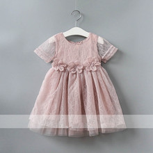 2017 Girl Lace Flowers Dress Cut Girl Party Dress Fashion High-grade Baby Birthday Dresses Belle Clothes Cute Kids Girl Costume
