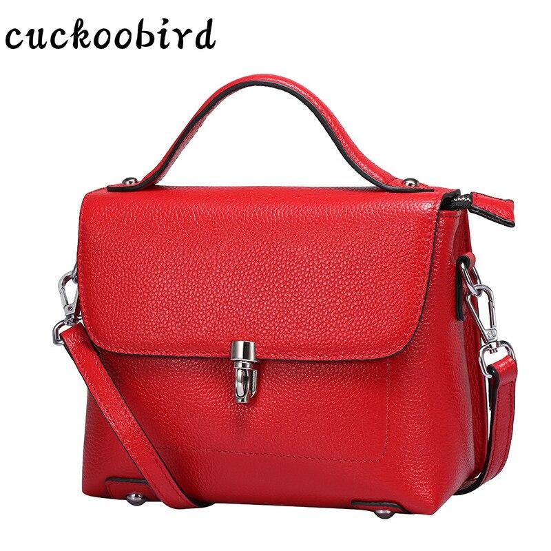 Cuckoobird Genuine Leather Women Handbag Solid Fashion Female Messenger Bag Crossbody Bag Cow Leather Cross Body Bags <br>