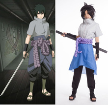 Naruto Shippuuden Uchiha Sasuke Cosplay Costume Sasuke 4th Generation Costumes Full Set ( Top + Pants + Skirt + Rope +Armguard )