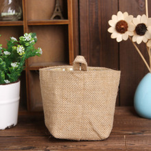 Apr 28 High Quality  Polka Dot Small Storage Sack Cloth Hanging Non Woven Storage Basket 420