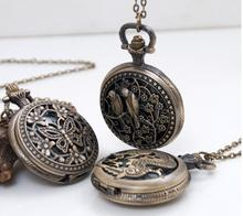 2017 New Vintage Jewelry Bronze Watches Carved Antique Arrow and Love Bird dragon and butterfly Pocket Watch And women And men