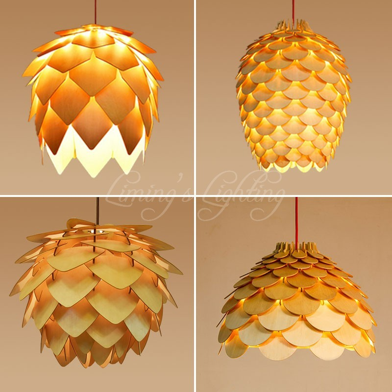 OAK Wooden Pinecone Pendant Lights Hanging Wood PH Artichoke Lamps Dinning Room Restaurant Retro Fixtures lighting<br>