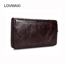 2017 Genuine Leather Men Wallets 100% Genuine Leather Men's Long Wallets Vintage Oil Leather Money Clips Causal Male Purses(China)