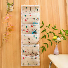 1 pc unique 68*21cm 5 Pockets Hanging Storage Bag Door Wall Mounted Home Sundries Clothing Jewelry Closet Organizer Bags