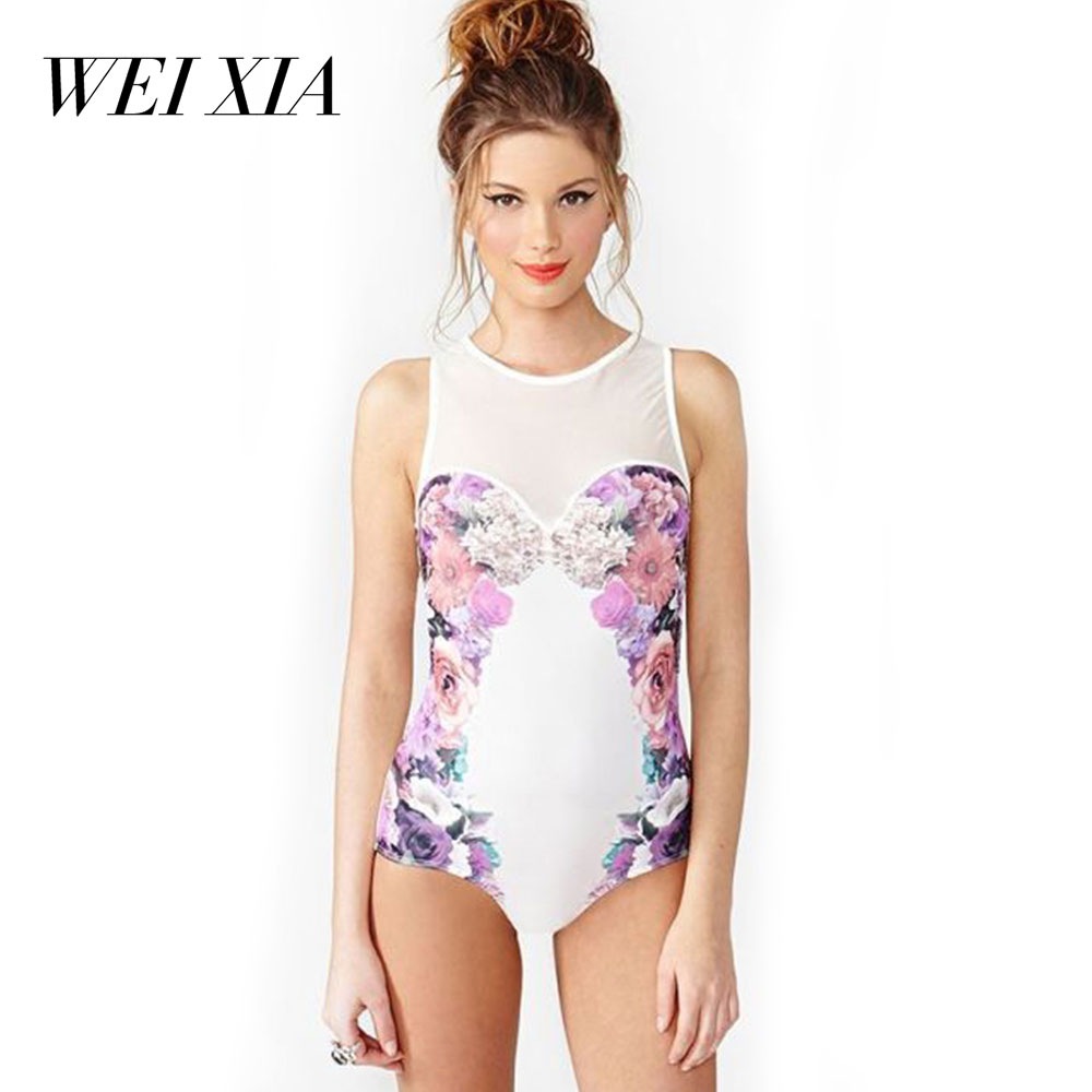 WEIXIA 2018 New arrival  Sexy Women One Piece Swimsuit Lovely Girl 17700 Super Sexy Bathing Suits Swimsuit Women Print Bodysuit <br>