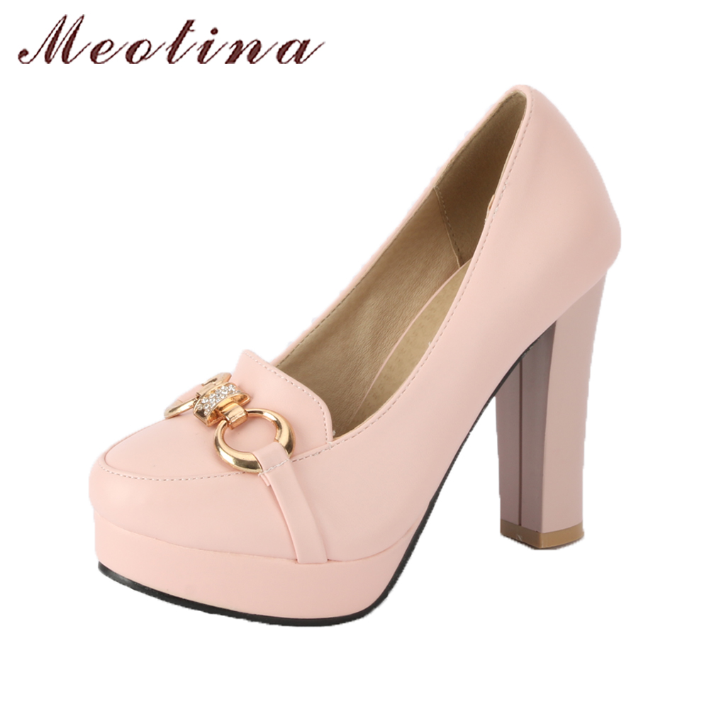 Meotina Shoes Women Pumps Thick High Heels Wedding Shoes Platform High Heels Pumps Slip On Sexy Party Shoes Big Size 42 43 Pink<br>