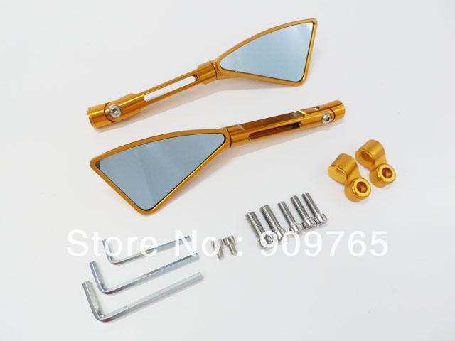 Gold Aluminum Billet Motorcycle Top CNC Rearview Rear Side Mirrors for Honda CBR Suzuki GSXR Harley Ktm R1 R6 ZX 6R Atv Go kart<br>