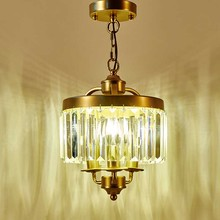 American restaurant small chandelier hallway entrance porch light balcony bar retro wrought iron bedroom led crystal chandelier(China)