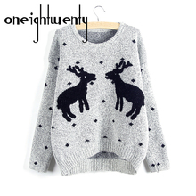 2017 New Winter And Christmas Women Reindeer Sweater Female Deer Fashion Thicken Pullovers Lady Knitted Cotton Sweaters 000