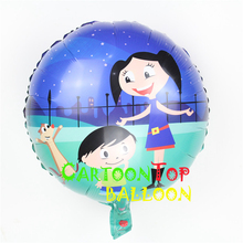 Newest 10pcs/lot  princess toy 18inch Luna balloon inflable foil globo for birthday and other party supply  mylar helium ballon