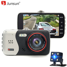 Junsun Car Dvr Camera Dual Lens Full HD 1080P With rearview camera Automobile DVRs Video Recorder Registrator(China)