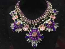 2015 European style retro exaggerated luxury Retro colorful  stone  necklace 6pcs/lot