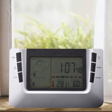Multifunctional LCD Weather Station Temperature Clock Indoor Temperature Humidity Meter Digital Clocks Calendar With Luminous