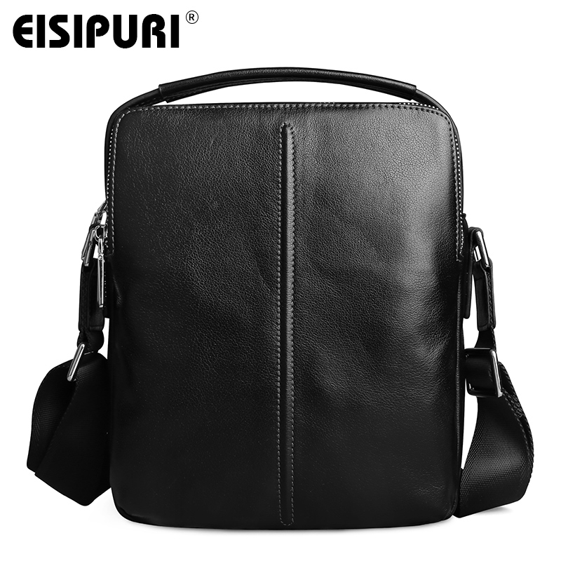 EISIPURI 100% Cow Leather Men Messenger Bag Casual Business Vintage Mens Bag Genuine Leather Shoulder Bag Crossbody Bag<br>