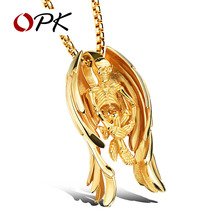OPK Skeleton & Angel Wings Design Pendant Necklace For Punk Men Box Link Chain 316L Steel Music Carnival Party Jewelry GX1099