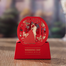 Wedding party celebrate 100 pcs Chinese style Red candy box laster cut the Bride and Groom wedding favor and gift  box for guest
