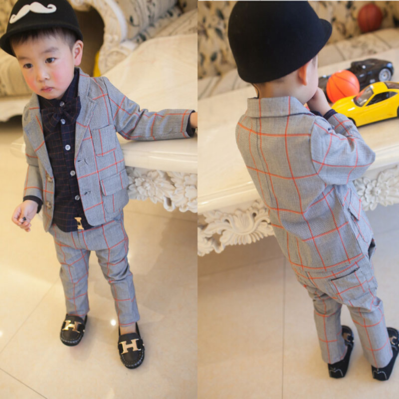 2017 New Children Clothing Set England Kid Clothes Gentleman Boy Party Wedding Suits Baby Boy Formal Plaid Long-sleeved Sets(China (Mainland))