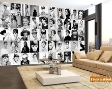 Custom vintage star wallpaper mural 50 classic Audrey Hepburn movie photo collection black & white sofa bedroom living room bar