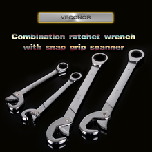 Veconor multifunctinal universal quick snap and grip adjustable wrench spanner with ratcheting combination wrench hand tools