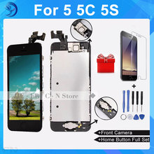 100% No Dead Pixel AAA Quality For Iphone 5 LCD Complete Display Assembly+Home Button+Front Camera Free Shipping