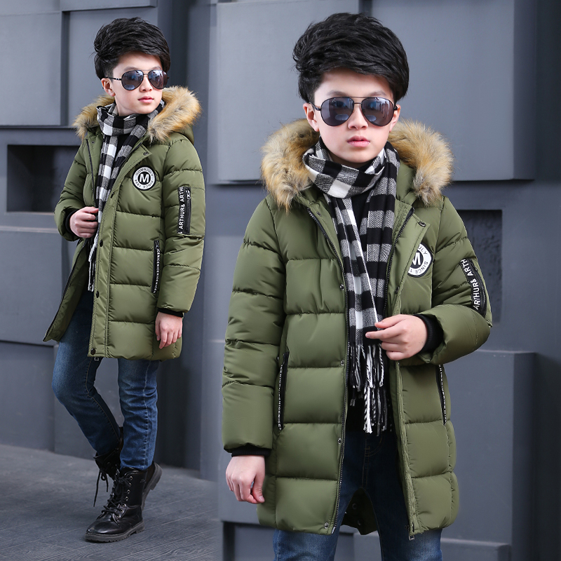 Male child wadded jacket outerwear with a hood 2017 child winter cotton-padded jacket child medium-long thickening down<br>