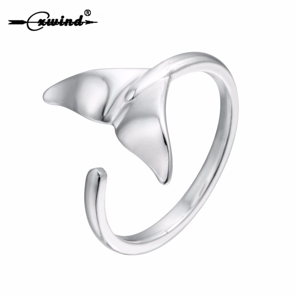 Cxwind Fashion Open Whale Tail Rings Charm Silver Jewelry Ginkgo Leaf Ring for Girls Women Girl Knuckle Jewelry Accessories