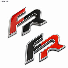 10pcs Black Red Full Metal FR Car Tail Stickers Emblem Decoration Chrome Metal SEAT FR Reffing Car Grille Decals Accessories(China)