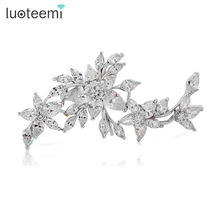 LUOTEEMI High Quality AAA Clear Cubic Zircon Flower Wedding Brooch Bouquet for Wedding Bridal Brooch Pins Jewelry for Women(China)