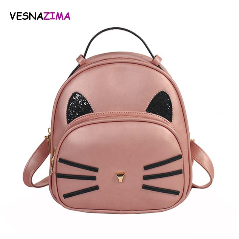 SUDS Brand Women Bag PU Leather Backpacks Teenage Girls Black School Bags  Preppy Style Cat Ears Student Small Travel Backpacks 4c6e33f8372ef
