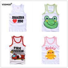 2-8 years Children vest Baby summer boy tops frog cartoon Girl Cotton sleeveless kids tank cars ambulance beach Camisoles(China)