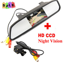 Buy HD Video Auto Parking Monitor, LED Night Vision Reversing CCD Car Rear View Camera 4.3 inch Car Rearview Mirror Monitor for $52.99 in AliExpress store